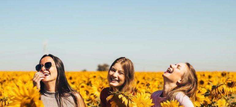 Three girls in a sunflower field