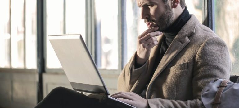 person on a laptop thinking