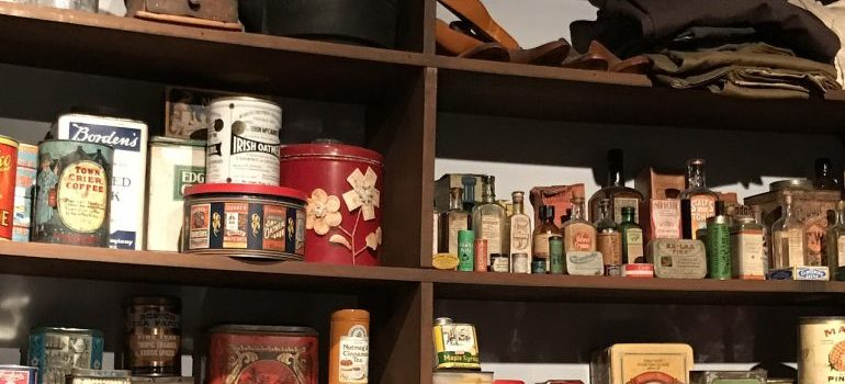 shelves with items