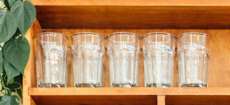 Kitchen glassware on a shelf