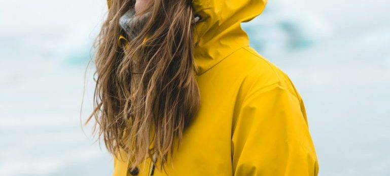 woman in raincoat