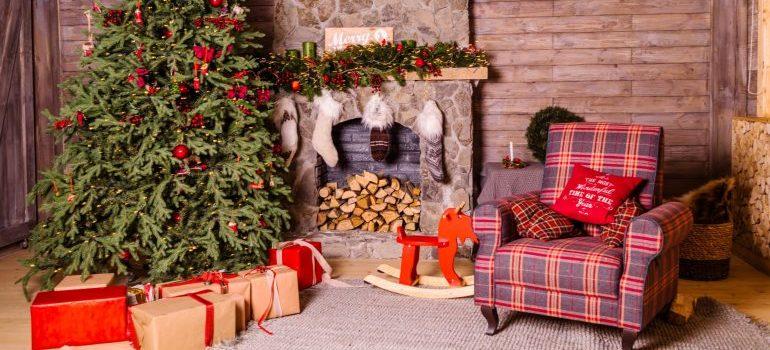 a warm cozy place near a Christmas tree