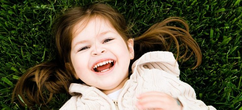 A kid smiling