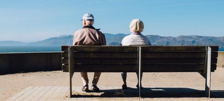 senior couple sitting on the bench