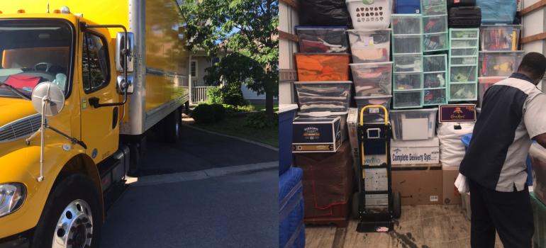 a truck and packed boxes